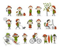 City life, People activity set, sketch for your design stock illustration