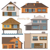 City life set. Vector illustration with buildings, detached house. Semi-detached house, bungalow, mansion, high-rise building. Flat style. White background Royalty Free Stock Image