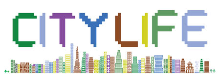 City life skyline. Vector illustration of a colorful stylized pixel art skyline with the text city life Stock Images