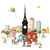 City Life with Tower and Buildings. P. Eople in Town Park. Abstract Vector Urban Landscape stock illustration