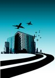 City Life Travels. Highway leading into a city with buildings and planes royalty free illustration