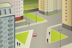 City life vector. City life on sunny day, vector stock illustration