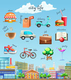 City life vector icons Stock Image