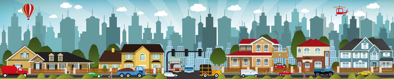 City life. Vector illustration of city life (people, cars, buildings Royalty Free Stock Images