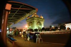 City life in Vien tien, Laos. Long exposure of the Arch De Triumph in Vien Tien, Loas Royalty Free Stock Images