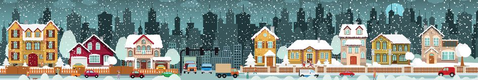 City life Winter vector illustration