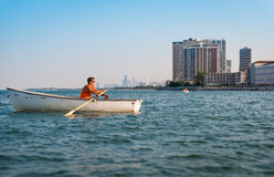 City Lifeguards. Lifeguards in boats seen in the public beach in the city of Chicago Royalty Free Stock Image