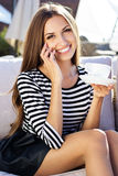 City lifestyle woman using smartphone on cafe Stock Photography
