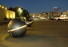 City Light. Great image of steal balls that light up the wharf of  Wellington city Stock Photos