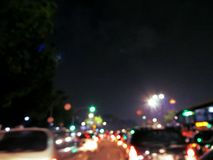 City Light Bokeh. Blurry image of buildings and night traffic in Jakarta, Indonesia Royalty Free Stock Photography