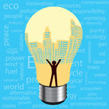 City  light bulb environmental development concept Royalty Free Stock Photography