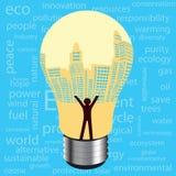 City  light bulb environmental development concept Royalty Free Stock Photography