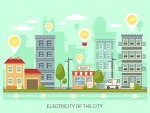 Town or city with energy saving light bulbs. City with light bulbs having percentage and growing arrows. Town with renewable electricity. Metropolis or Stock Images