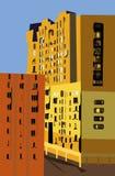 City. Light illustration of two buildings symbolize city landscape royalty free illustration