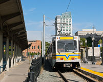 City Light Rail. Light rail makes a stop near downtown Royalty Free Stock Photo
