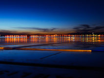 City light sunset at port Zadar Royalty Free Stock Photos