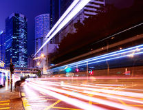City light trails on traffic road Stock Images