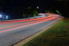 City light trails. Winding light trails in Downtown Raleigh stock photos