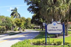City of Lighthouse Point Sign Stock Photo