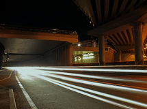 City lighting and lights traces at the night street Royalty Free Stock Photography