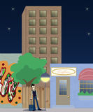 City lights. Illustration about city suburbs buildings and a man with lagguage Royalty Free Stock Image