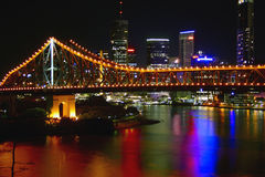 City lights. Shot of Brisbane in Australia by night with lighting efrfects Royalty Free Stock Image