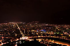 City lights. Grenoble in france night view Stock Photography