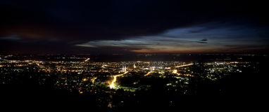 City lights. Panorama of the city lights with dramatic sky Royalty Free Stock Photos