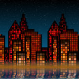 City lights. Night time skyline of cosmopolitan city Stock Images