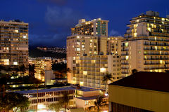 City Lights. Downtown Waikiki, Oahu Royalty Free Stock Image