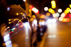 City lights. Abstract background. City lights. Background with blurring lights on the road royalty free stock images