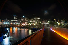 City lights across bay Wellington New Zealand Royalty Free Stock Photos