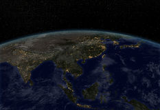 City lights - Asia. Earth at night with city lights royalty free illustration