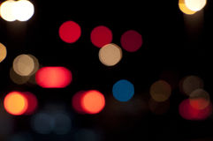 City lights background at night. Abu Dhabi street lights blurring at night Stock Photography