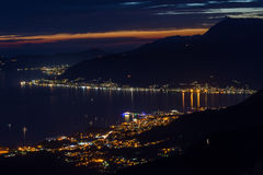 City lights at the blue hour in the Bay of Kotor, Montenegro Royalty Free Stock Photos