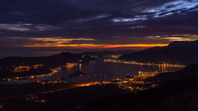 City lights at the blue hour in the Bay of Kotor, Montenegro Royalty Free Stock Image