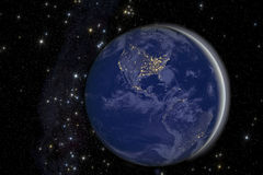 City lights on Earth from space. stock image
