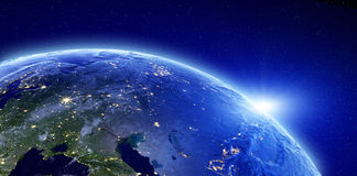 City lights - Eurasia, Russia. Elements of this image furnished by NASA vector illustration