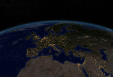 City lights - Europe. Earth at night with city lights royalty free illustration