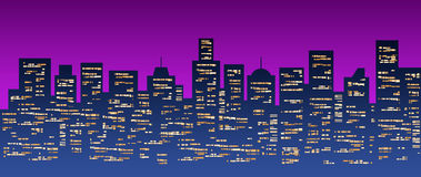 City lights. Illustration of a city scenery at night with lighted buildings Royalty Free Stock Image
