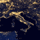 City lights Of Italy ,Elements of this image are furnished by NASA. City lights Of Italy from space ,Elements of this image are furnished by NASA Stock Photography