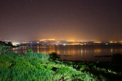 City lights with lake Royalty Free Stock Images