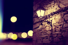 City lights and lamppost at night scenery Royalty Free Stock Photography