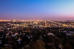 City lights Los Angeles. City lights of Los Angeles at sunset Royalty Free Stock Images