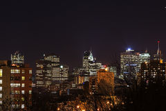City lights Montreal downtown Stock Image