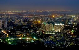 City of Lights. Mumbai (Mulund) city photographed form a high altitude point during night Royalty Free Stock Image