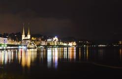 City lights near Geneva lake in Lucerne Switzerland on night Stock Image