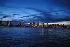 City Lights. New Jersey, city lights of  buildings from the view of Batery park in New York city Royalty Free Stock Image