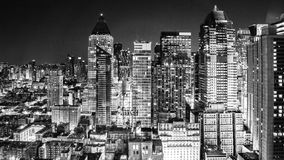 City lights at night. NYC New York city lights at night in black and white Royalty Free Stock Photography
