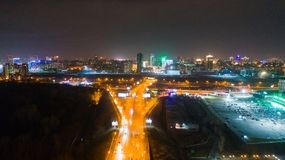 The city lights at night. Shooting from heights with drone. The city lights at night. Shooting from height royalty free stock photo
